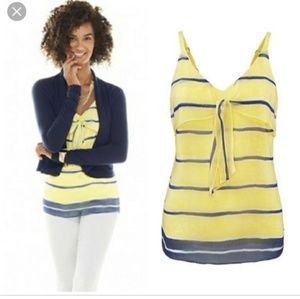 NWOT Cabi Knot Cami Yellow and Navy